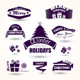 Christmas and new year set of icons tree, gift.  Royalty Free Stock Photos