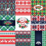 Christmas and New Year Set. Knitted backgrounds. Stock Photos