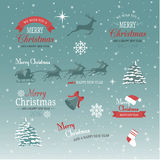 Christmas and new year set. Labels, emblems and other decorative elements Royalty Free Stock Photos