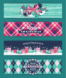 Christmas and New Year Set. Plaid backgrounds. Stock Photography