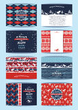 Christmas and New Year Set. Plaid and knitted backgrounds. Royalty Free Stock Photography
