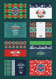 Christmas and New Year Set. Plaid and knitted backgrounds. Royalty Free Stock Image