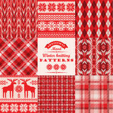 Christmas and New Year Set. Plaid and knitted seamless Stock Photography
