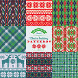 Christmas and New Year Set. Plaid and knitted seamless Royalty Free Stock Images