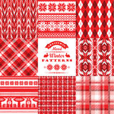 Christmas and New Year Set.Plaid and ornamental seamless backgro Stock Images