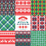 Christmas and New Year Set. Plaid and ornamental seamless. Backgrounds. Vector Design Templates Collection for Banners, Flyers, Placards, Posters and other use royalty free illustration