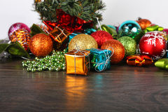 Christmas and New year set. Spheres and fir cones a wooden Royalty Free Stock Image