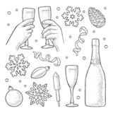 Merry Christmas and Happy New Year set. Vector vintage engraving. Christmas and New Year set. Toy, serpentine, rocket, snowflake, pine cone, champagne bottle vector illustration