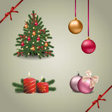 Christmas and new year set. With Christmas tree, balls, candles and fir-tree branches royalty free illustration