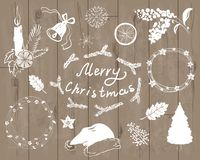 Christmas white silhouettes in stock illustration