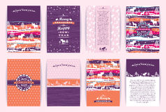 Christmas and New Year Set. Vector Design Templates. Royalty Free Stock Photography