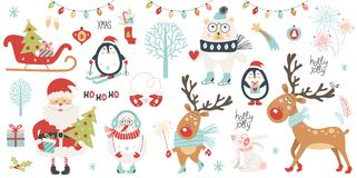 Christmas and New Year set. Vector illustration Royalty Free Stock Image
