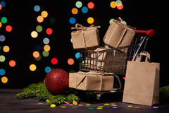 Christmas and New Year shopping. Royalty Free Stock Image