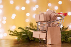 Christmas and New Year shopping. Royalty Free Stock Photo