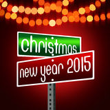 Christmas, New Year 2015 Signage Boards. An abstract illustration on Christmas and New Year 2015 Stock Photo