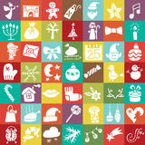 Christmas,New Year Silhouette Icons Button Set Royalty Free Stock Image