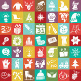 Christmas,New Year Silhouette Icons Button Set Stock Image