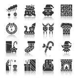 Christmas, New year silhouette icons with reflect. Christmas, New year black silhouette with reflection icon set. Monochrome flat design symbol collection Royalty Free Stock Photo