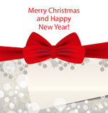 Christmas and New Year silver background with red bow. Vector. Illustration Royalty Free Stock Images
