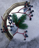Christmas, new year. silver plate, silk, fur-tree branch, a bunch of grapes. top view Royalty Free Stock Photography