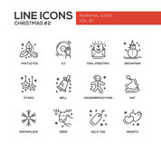 Christmas and New Year - simple line design icons set Stock Images