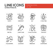 Christmas and New Year - simple line design icons set. Christmas and New Year - set of modern vector simple line design icons and pictograms. Santa, ornament Stock Photos