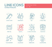 Christmas and New Year - simple line design icons set. Christmas and New Year - set of modern vector simple line design icons and pictograms. Santa, ornament Royalty Free Stock Image