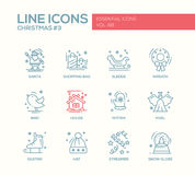 Christmas and New Year - simple line design icons set Royalty Free Stock Photos