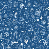 Christmas and New Year - sketch doodle pattern Royalty Free Stock Images