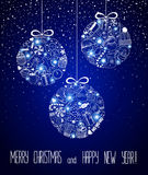 Christmas and New Year - sketch doodle set. Various hand-drawn items arranged as three balls on a blue background. Vector illustration with lettering. Eps 10 Royalty Free Stock Image