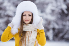 Christmas new year snow winter beautiful girl in white hat nature Royalty Free Stock Photos