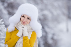 Christmas new year snow winter beautiful girl in white hat nature Stock Photo