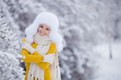 Christmas new year snow winter beautiful girl in white hat nature Stock Images