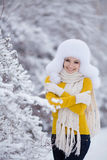 Christmas new year snow winter beautiful girl in white hat nature Royalty Free Stock Image