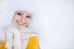 Christmas new year snow winter beautiful girl in white hat nature. Snow stock photos