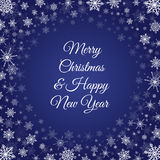 Christmas New Year snowflakes frame deep blue. Vector deep blue square background with frame of elegant white snowflakes and script type text: Merry Christmas & Stock Photography
