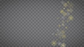 Christmas and New Year snowflakes. Isolated snowflakes on horizontal transparent grey background. Gold glitter snow. Winter sales, Christmas and New Year design stock illustration