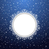 Christmas and New Year snowflakes round frame. Vector illustration. EPS10 Royalty Free Stock Images