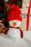 Snowman with Christmas decoration. Christmas and new year snowman with Christmas decoration Royalty Free Stock Photography