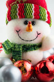 Christmas and New Year snowman with toys. Close up Royalty Free Stock Photo