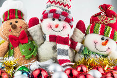 Christmas and New Year snowmen with toys. Close up Stock Photos