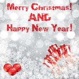 Christmas and New Year snowy background Stock Images