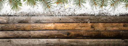 Snowy vintage wooden table Royalty Free Stock Photos
