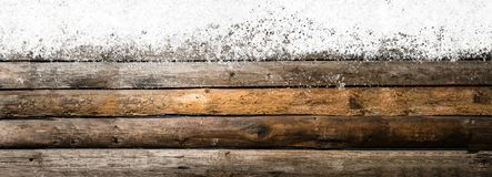 Snowy vintage wooden table Royalty Free Stock Images