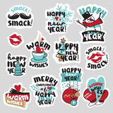 Christmas and New Year social media stickers set. Isolated vector illustrations for social media communication, networking, website badges, greeting cards Stock Images