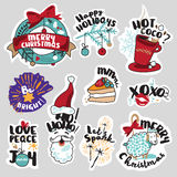 Christmas and New Year social media stickers set. Isolated vector illustrations for social media communication, networking, website badges, greeting cards Royalty Free Stock Photography