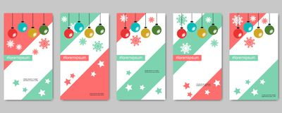 Christmas and New Year social network stories editable vector templates. Collection. Web application background for social media vector illustration