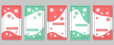 Christmas and New Year social network stories editable vector templates. Collection. Web application background for social media royalty free illustration