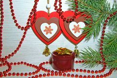 Christmas, New Year, St. Valentine`s Day. Two multicolored heart Stock Photography