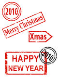 Christmas and New Year stamps royalty free stock image